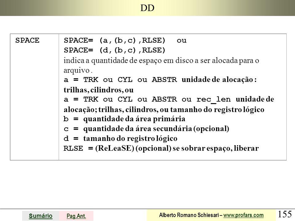 155 Sumário Pag.Ant. Alberto Romano Schiesari – www.profars.comwww.profars.com DD SPACESPACE= (a,(b,c),RLSE) ou SPACE= (d,(b,c),RLSE) indica a quantid