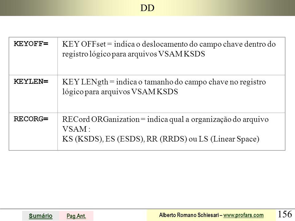 156 Sumário Pag.Ant. Alberto Romano Schiesari – www.profars.comwww.profars.com DD KEYOFF= KEY OFFset = indica o deslocamento do campo chave dentro do