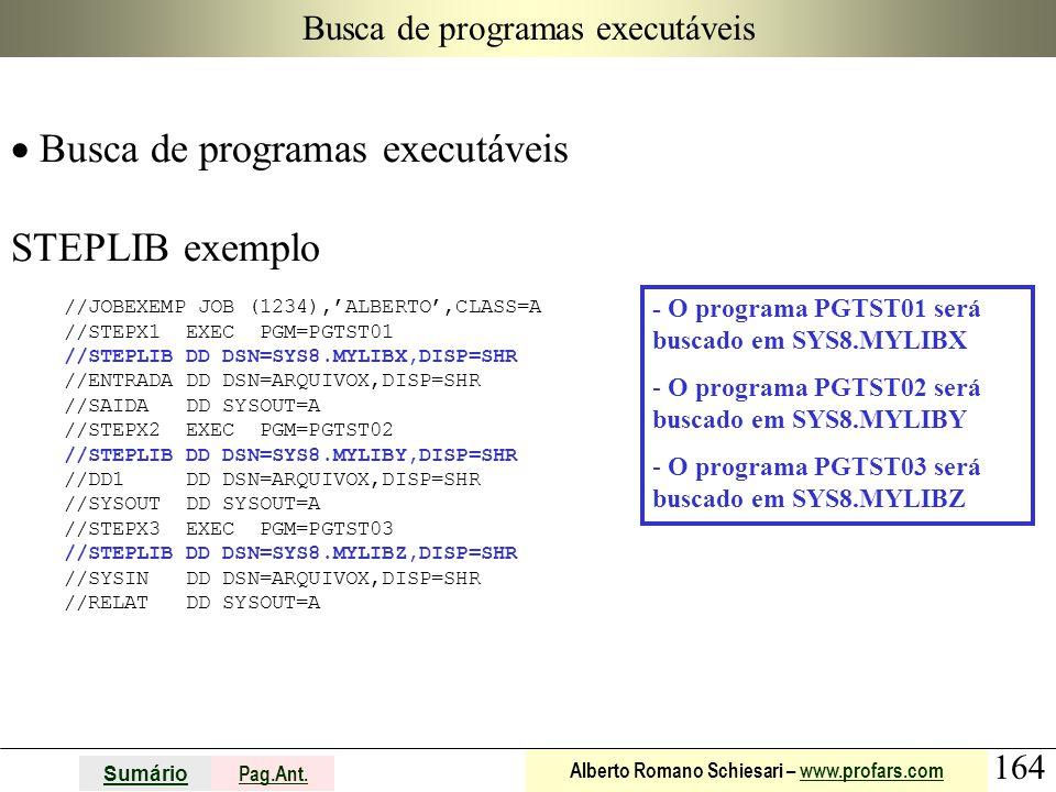164 Sumário Pag.Ant. Alberto Romano Schiesari – www.profars.comwww.profars.com Busca de programas executáveis  Busca de programas executáveis STEPLIB