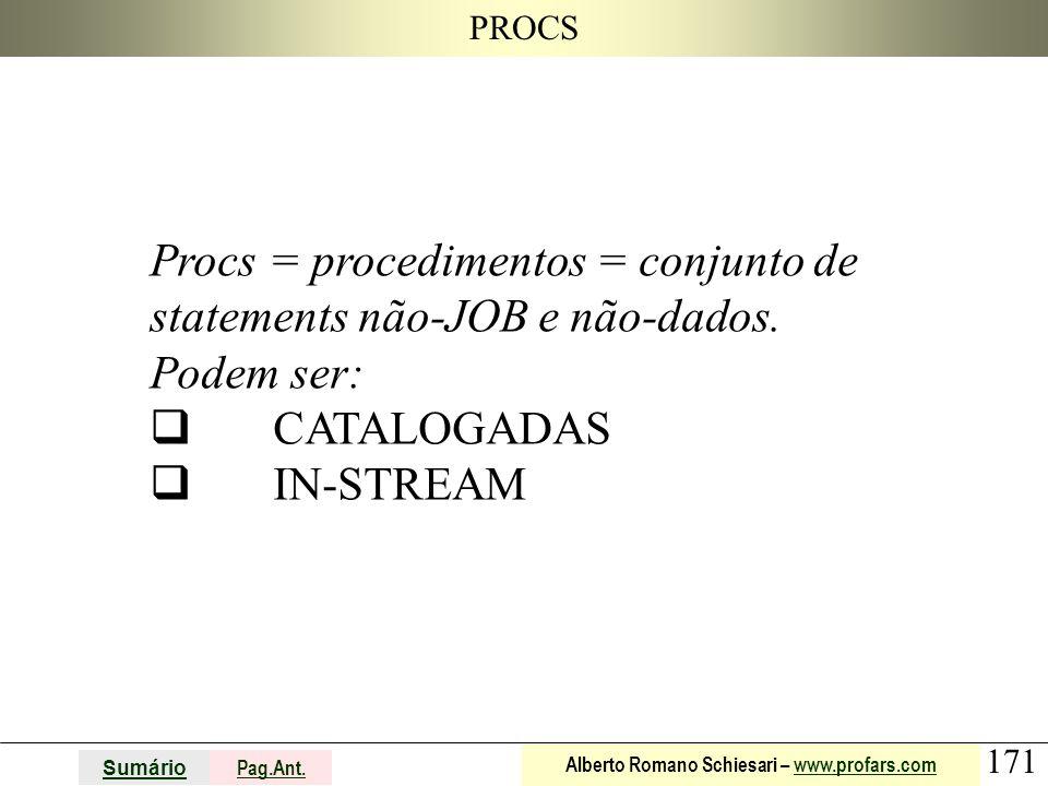 171 Sumário Pag.Ant. Alberto Romano Schiesari – www.profars.comwww.profars.com PROCS Procs = procedimentos = conjunto de statements não-JOB e não-dado