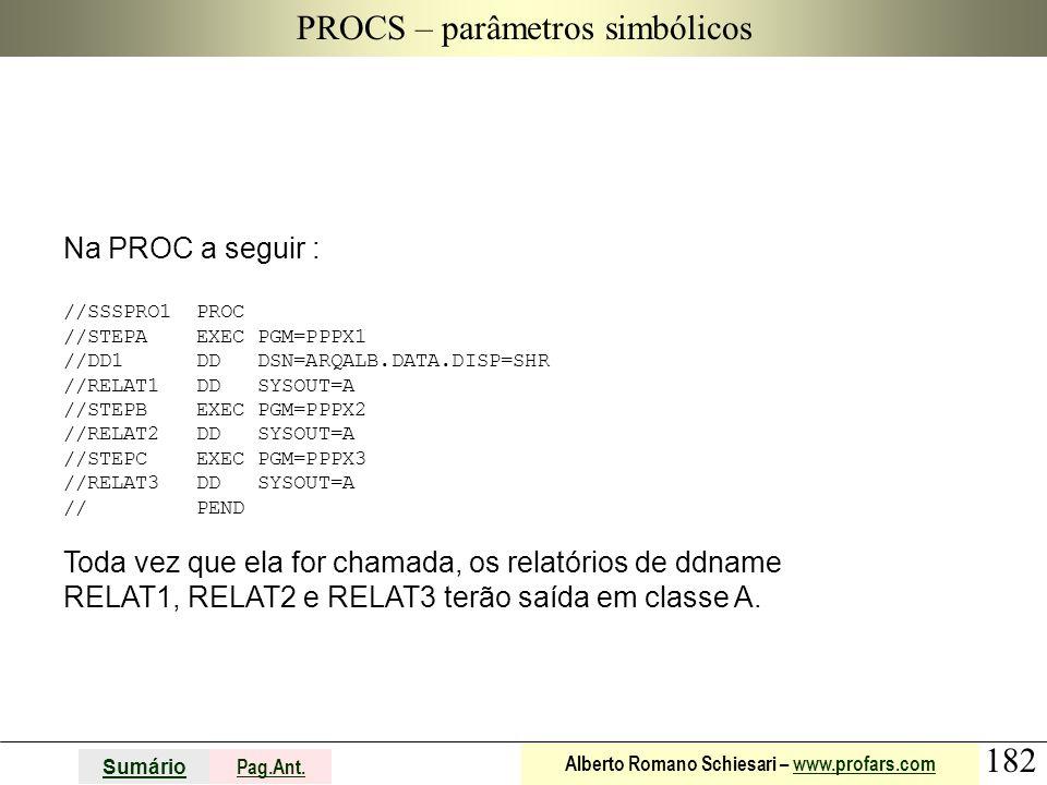 182 Sumário Pag.Ant. Alberto Romano Schiesari – www.profars.comwww.profars.com PROCS – parâmetros simbólicos Na PROC a seguir : //SSSPRO1 PROC //STEPA