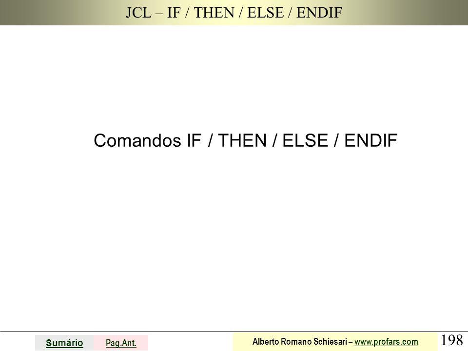 198 Sumário Pag.Ant. Alberto Romano Schiesari – www.profars.comwww.profars.com JCL – IF / THEN / ELSE / ENDIF Comandos IF / THEN / ELSE / ENDIF
