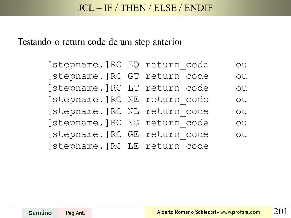 201 Sumário Pag.Ant. Alberto Romano Schiesari – www.profars.comwww.profars.com JCL – IF / THEN / ELSE / ENDIF Testando o return code de um step anteri
