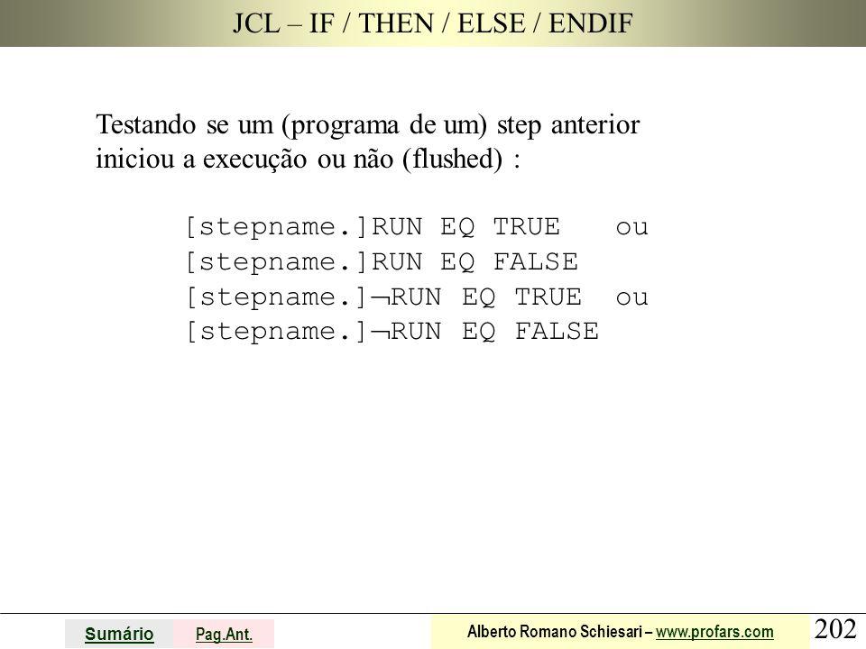 202 Sumário Pag.Ant. Alberto Romano Schiesari – www.profars.comwww.profars.com JCL – IF / THEN / ELSE / ENDIF Testando se um (programa de um) step ant