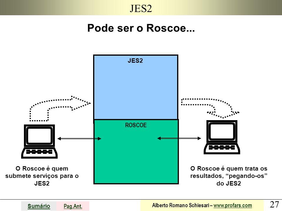 27 Sumário Pag.Ant. Alberto Romano Schiesari – www.profars.comwww.profars.com JES2 Pode ser o Roscoe... O Roscoe é quem submete serviços para o JES2 R