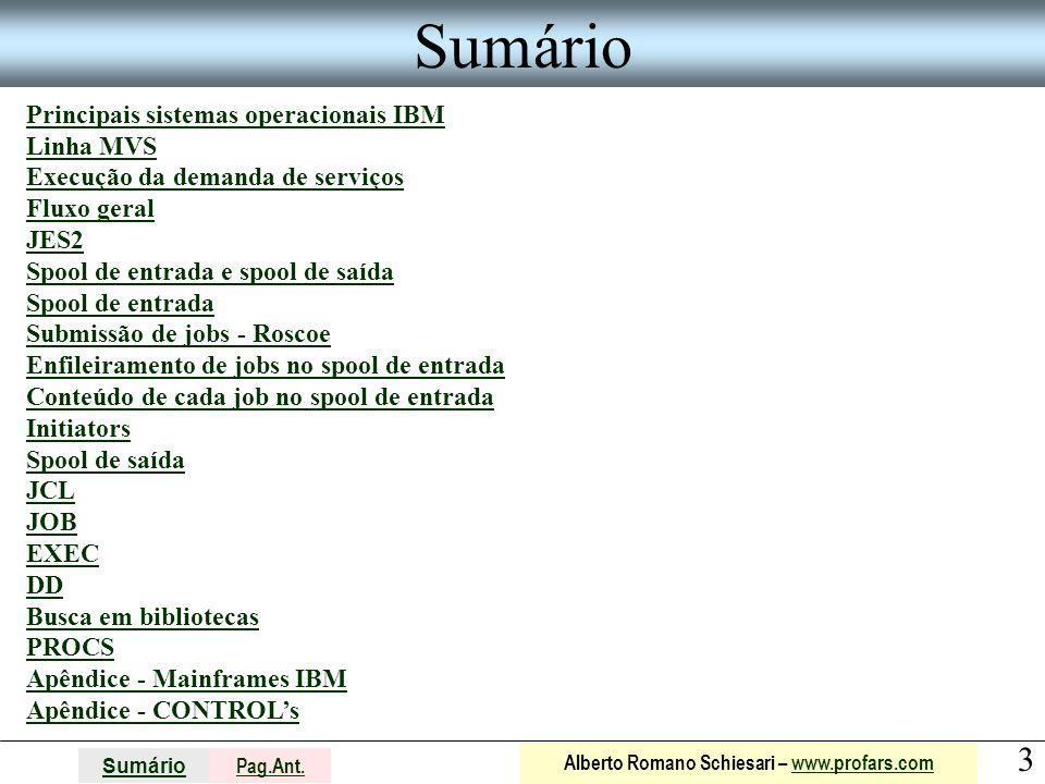 3 Sumário Pag.Ant. Alberto Romano Schiesari – www.profars.comwww.profars.com Sumário Principais sistemas operacionais IBM Linha MVS Execução da demand