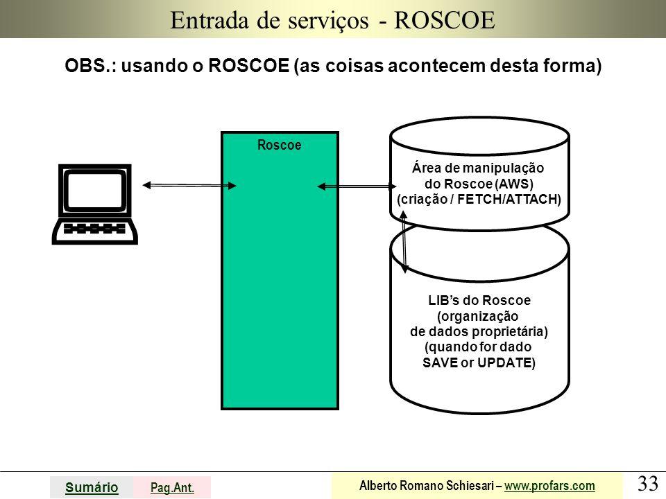 33 Sumário Pag.Ant. Alberto Romano Schiesari – www.profars.comwww.profars.com LIB's do Roscoe (organização de dados proprietária) (quando for dado SAV