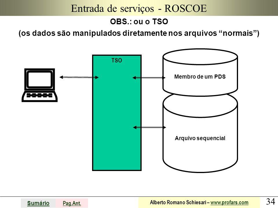 34 Sumário Pag.Ant. Alberto Romano Schiesari – www.profars.comwww.profars.com Arquivo sequencial Entrada de serviços - ROSCOE OBS.: ou o TSO (os dados
