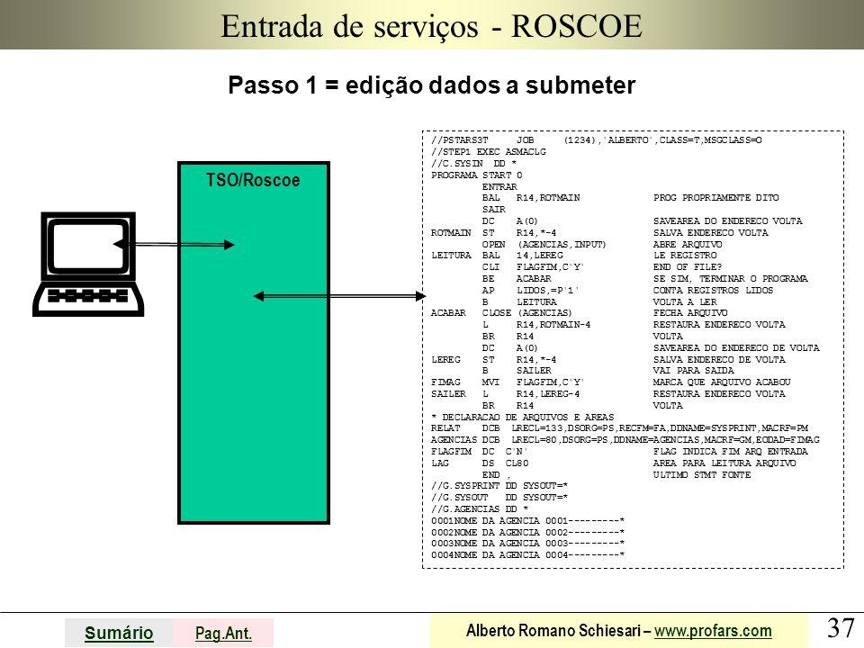 37 Sumário Pag.Ant. Alberto Romano Schiesari – www.profars.comwww.profars.com Entrada de serviços - ROSCOE Passo 1 = edição dados a submeter TSO/Rosco
