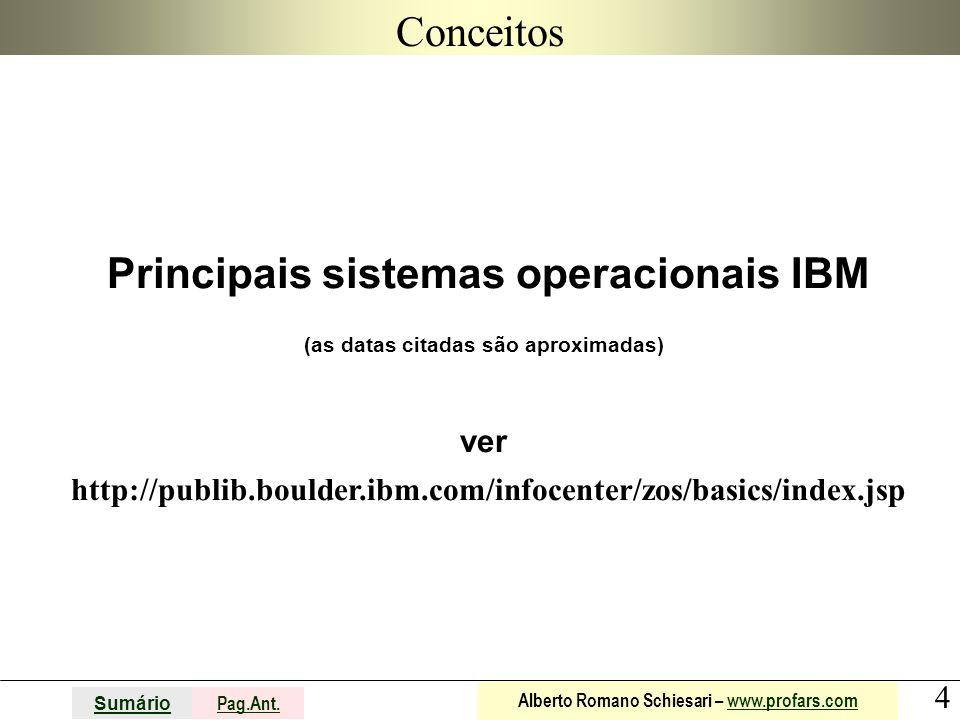 4 Sumário Pag.Ant. Alberto Romano Schiesari – www.profars.comwww.profars.com Conceitos Principais sistemas operacionais IBM (as datas citadas são apro