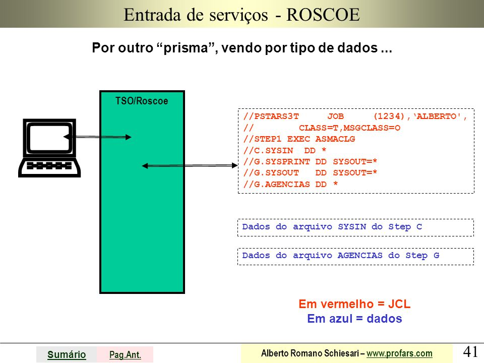 """41 Sumário Pag.Ant. Alberto Romano Schiesari – www.profars.comwww.profars.com Entrada de serviços - ROSCOE Por outro """"prisma"""", vendo por tipo de dados"""