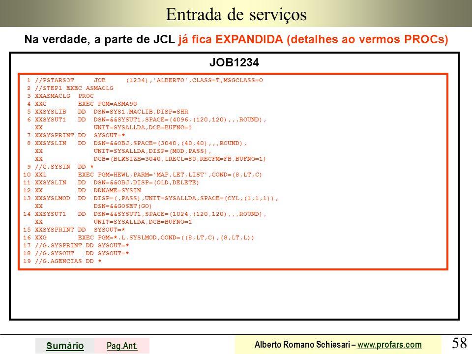 58 Sumário Pag.Ant. Alberto Romano Schiesari – www.profars.comwww.profars.com Entrada de serviços Na verdade, a parte de JCL já fica EXPANDIDA (detalh