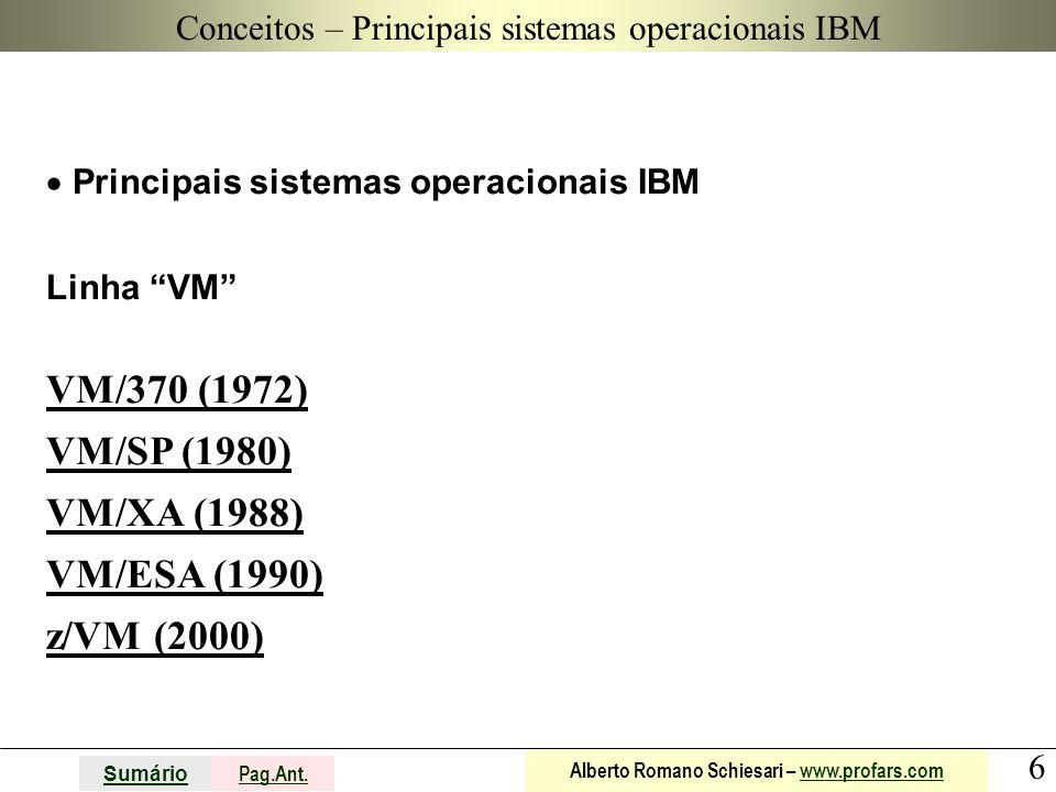 """6 Sumário Pag.Ant. Alberto Romano Schiesari – www.profars.comwww.profars.com  Principais sistemas operacionais IBM Linha """"VM"""" VM/370 (1972) VM/SP (19"""