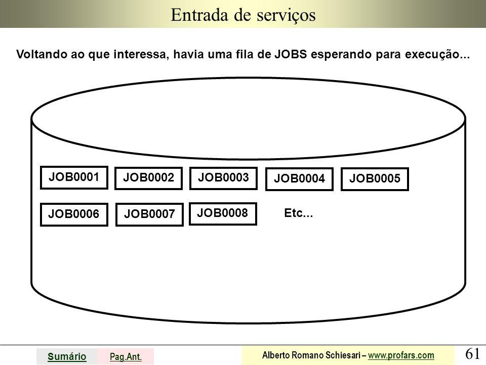 61 Sumário Pag.Ant. Alberto Romano Schiesari – www.profars.comwww.profars.com Entrada de serviços Voltando ao que interessa, havia uma fila de JOBS es