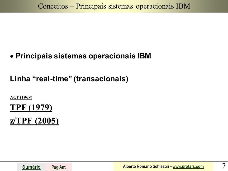"""7 Sumário Pag.Ant. Alberto Romano Schiesari – www.profars.comwww.profars.com Conceitos  Principais sistemas operacionais IBM Linha """"real-time"""" (trans"""