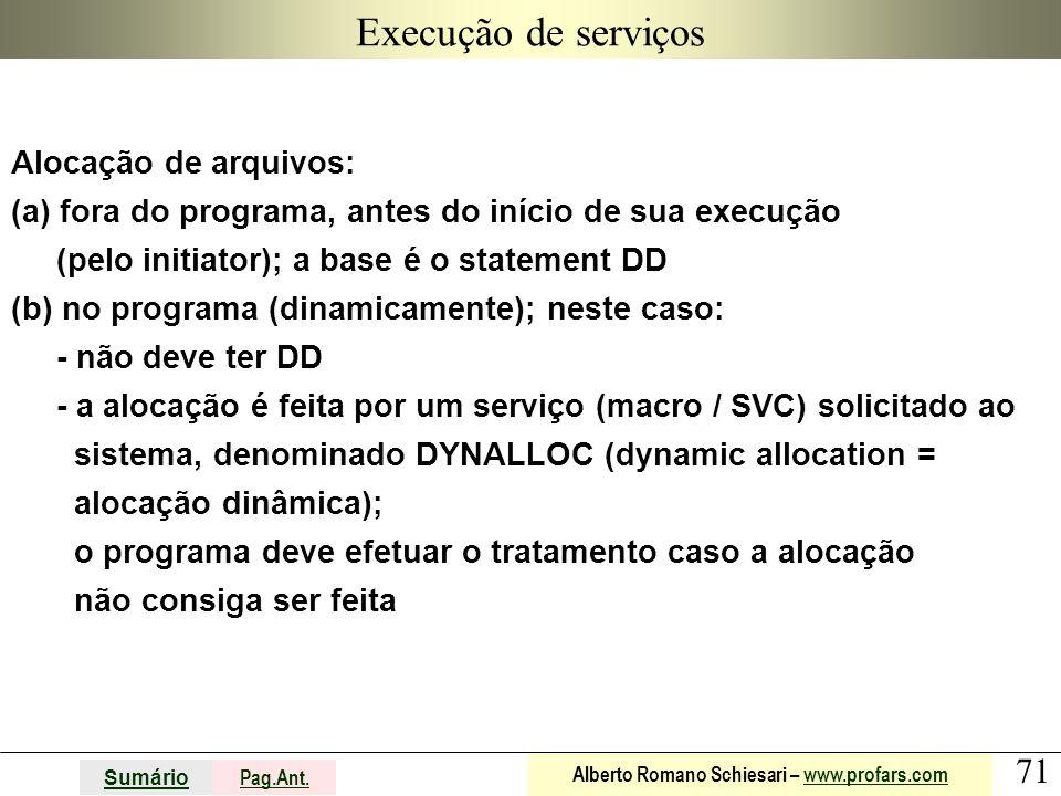71 Sumário Pag.Ant. Alberto Romano Schiesari – www.profars.comwww.profars.com Execução de serviços Alocação de arquivos: (a) fora do programa, antes d