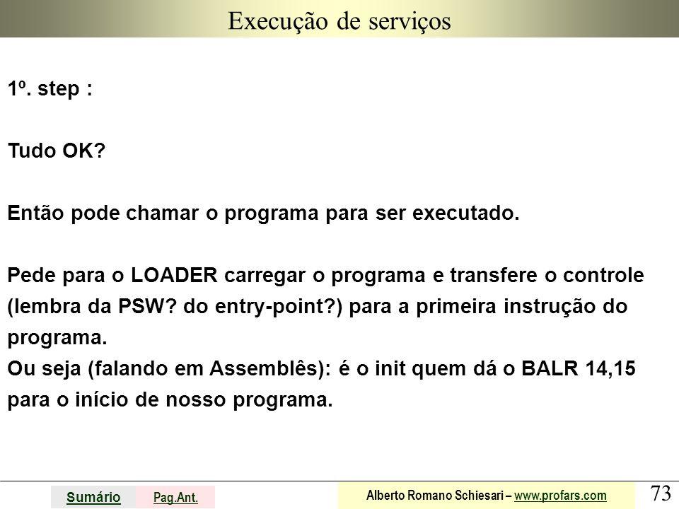 73 Sumário Pag.Ant. Alberto Romano Schiesari – www.profars.comwww.profars.com Execução de serviços 1º. step : Tudo OK? Então pode chamar o programa pa
