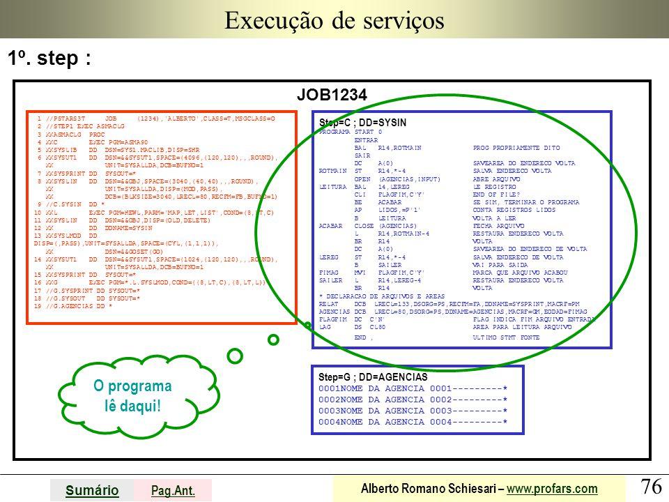 76 Sumário Pag.Ant. Alberto Romano Schiesari – www.profars.comwww.profars.com Execução de serviços JOB1234 1 //PSTARS3T JOB (1234),'ALBERTO',CLASS=T,M