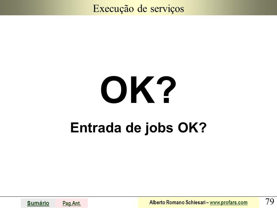 79 Sumário Pag.Ant. Alberto Romano Schiesari – www.profars.comwww.profars.com Execução de serviços OK? Entrada de jobs OK?