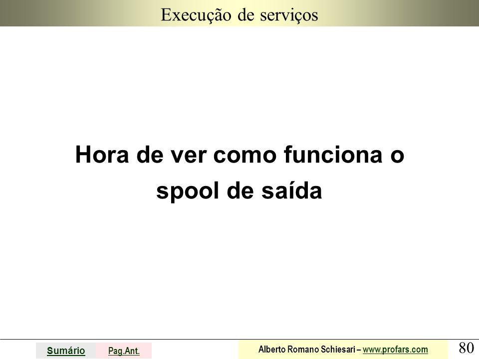 80 Sumário Pag.Ant. Alberto Romano Schiesari – www.profars.comwww.profars.com Execução de serviços Hora de ver como funciona o spool de saída