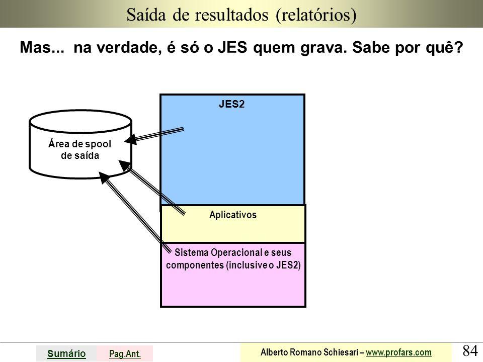 84 Sumário Pag.Ant. Alberto Romano Schiesari – www.profars.comwww.profars.com JES2 Saída de resultados (relatórios) Mas... na verdade, é só o JES quem