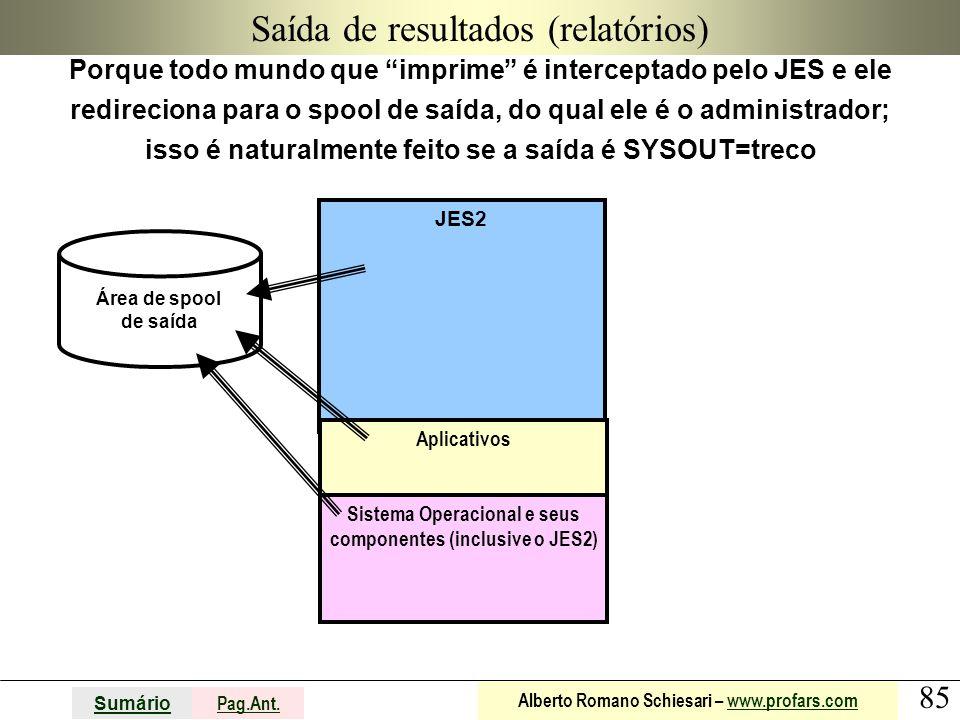 """85 Sumário Pag.Ant. Alberto Romano Schiesari – www.profars.comwww.profars.com JES2 Saída de resultados (relatórios) Porque todo mundo que """"imprime"""" é"""