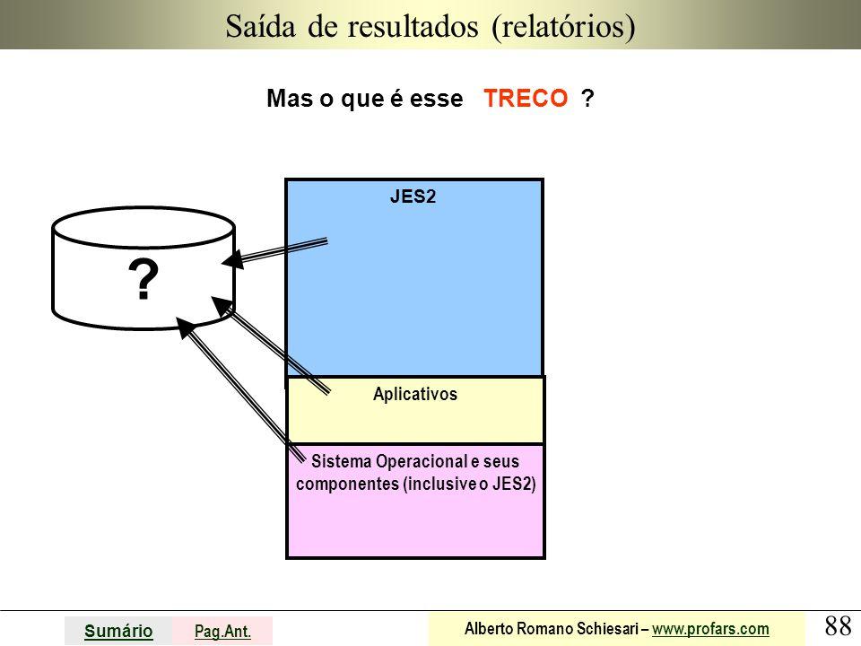 88 Sumário Pag.Ant. Alberto Romano Schiesari – www.profars.comwww.profars.com JES2 Saída de resultados (relatórios) Mas o que é esse TRECO ? Aplicativ