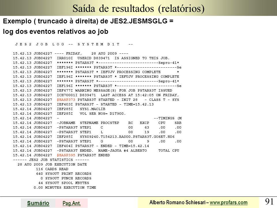 91 Sumário Pag.Ant. Alberto Romano Schiesari – www.profars.comwww.profars.com Saída de resultados (relatórios) Exemplo ( truncado à direita) de JES2.J