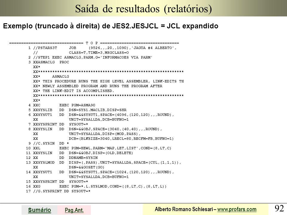 92 Sumário Pag.Ant. Alberto Romano Schiesari – www.profars.comwww.profars.com Saída de resultados (relatórios) Exemplo (truncado à direita) de JES2.JE