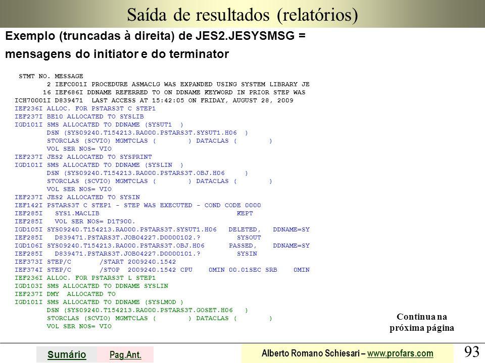 93 Sumário Pag.Ant. Alberto Romano Schiesari – www.profars.comwww.profars.com Saída de resultados (relatórios) Exemplo (truncadas à direita) de JES2.J
