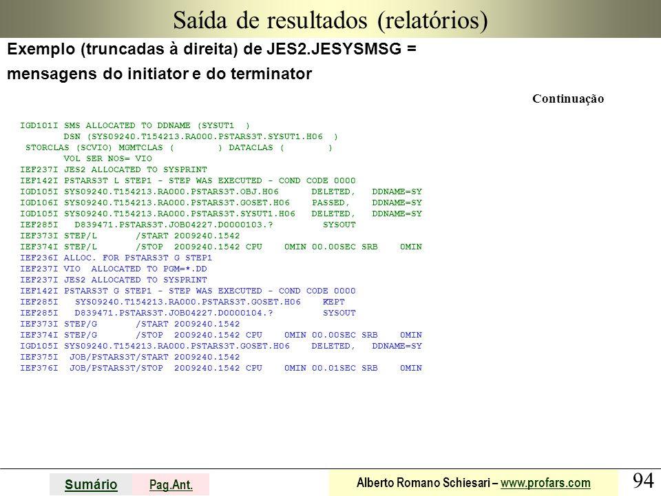 94 Sumário Pag.Ant. Alberto Romano Schiesari – www.profars.comwww.profars.com Saída de resultados (relatórios) Exemplo (truncadas à direita) de JES2.J