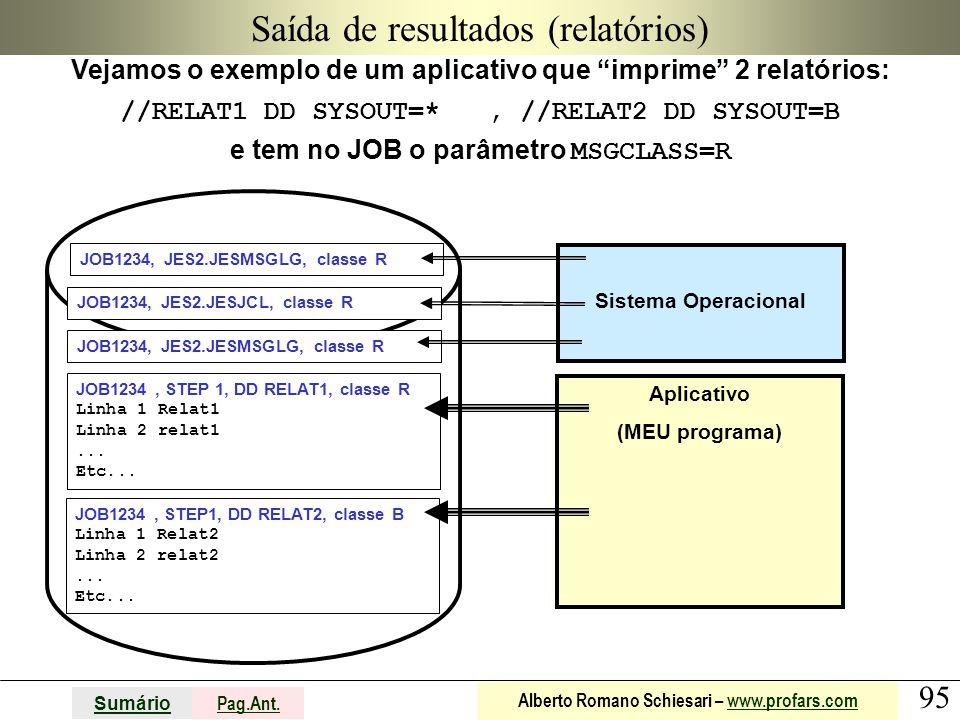 95 Sumário Pag.Ant. Alberto Romano Schiesari – www.profars.comwww.profars.com Aplicativo (MEU programa) Saída de resultados (relatórios) Vejamos o exe