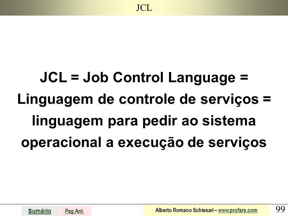 99 Sumário Pag.Ant. Alberto Romano Schiesari – www.profars.comwww.profars.com JCL JCL = Job Control Language = Linguagem de controle de serviços = lin