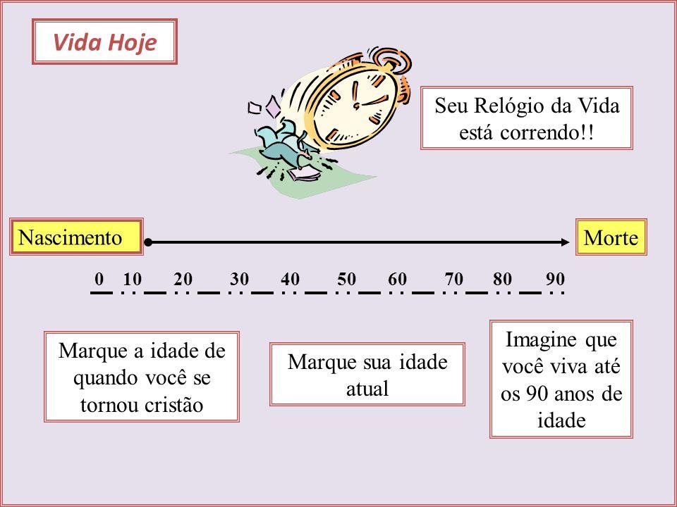 Vida Hoje Nascimento Morte 0102030405060708090 Marque a idade de quando você se tornou cristão Marque sua idade atual Seu Relógio da Vida está corrend