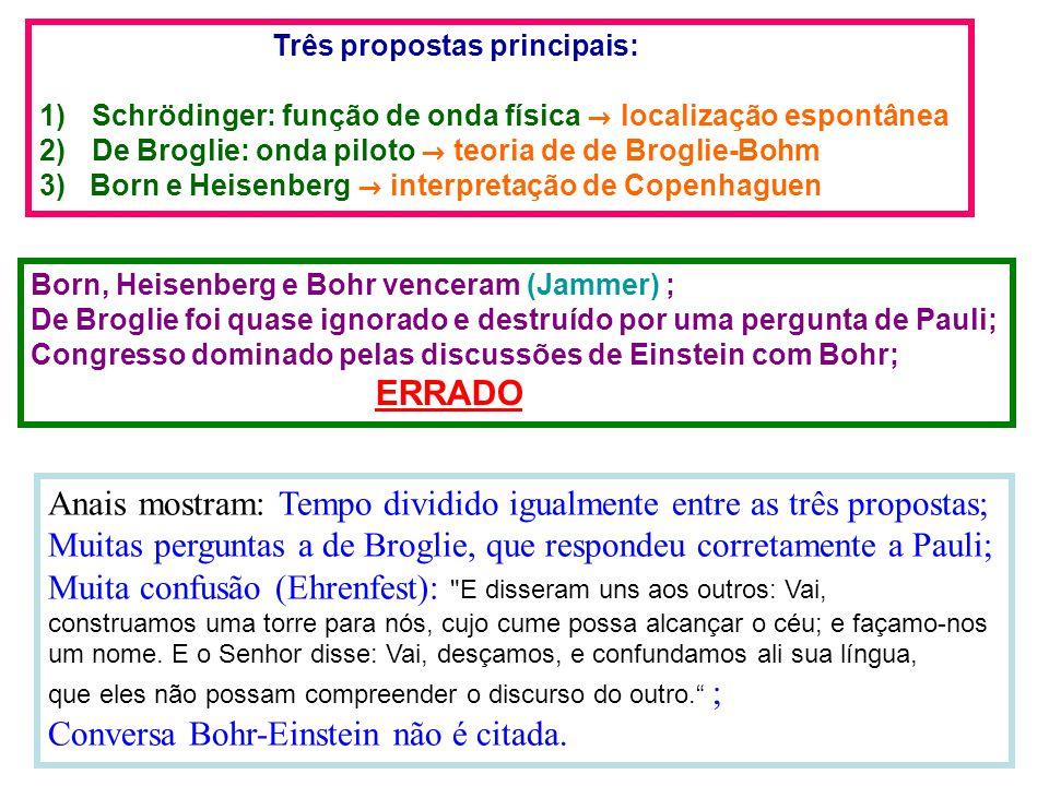 Anais mostram: Tempo dividido igualmente entre as três propostas; Muitas perguntas a de Broglie, que respondeu corretamente a Pauli; Muita confusão (Ehrenfest): E disseram uns aos outros: Vai, construamos uma torre para nós, cujo cume possa alcançar o céu; e façamo-nos um nome.