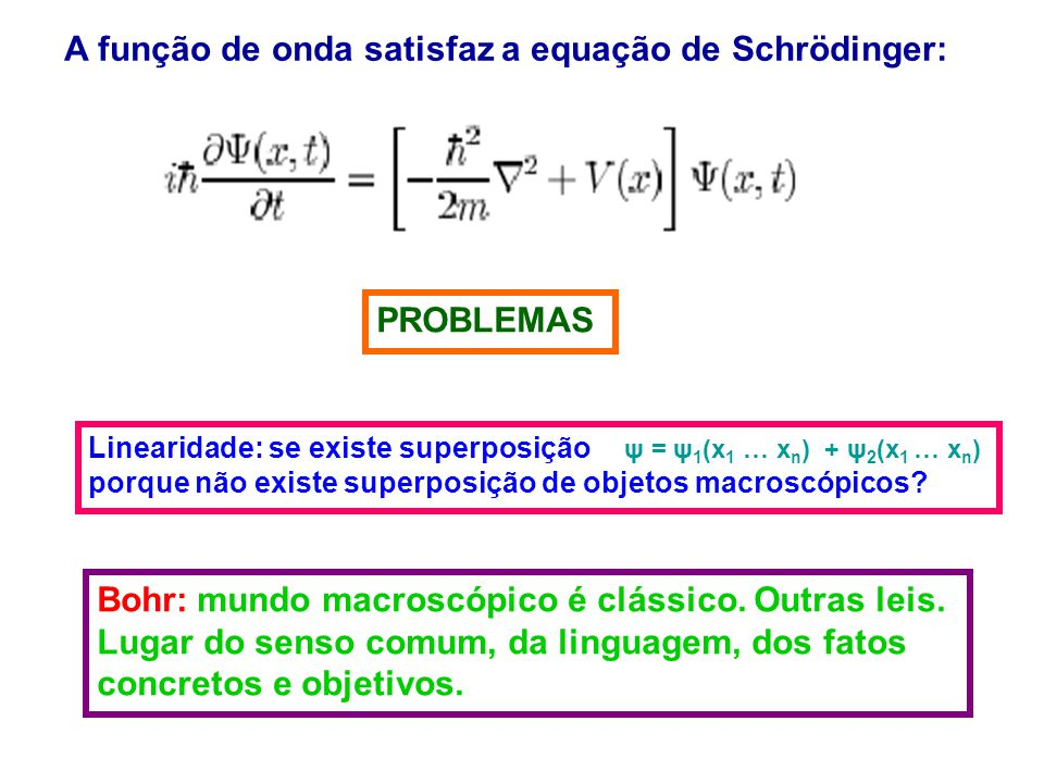 A função de onda satisfaz a equação de Schrödinger: PROBLEMAS Linearidade: se existe superposição ψ = ψ 1 (x 1 … x n ) + ψ 2 (x 1 … x n ) porque não existe superposição de objetos macroscópicos.