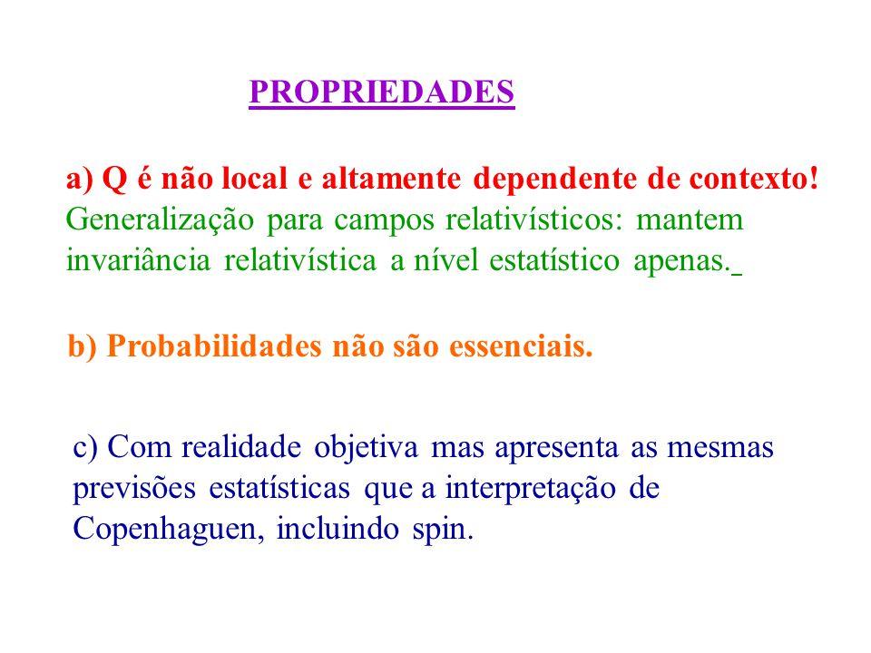 PROPRIEDADES a) Q é não local e altamente dependente de contexto.