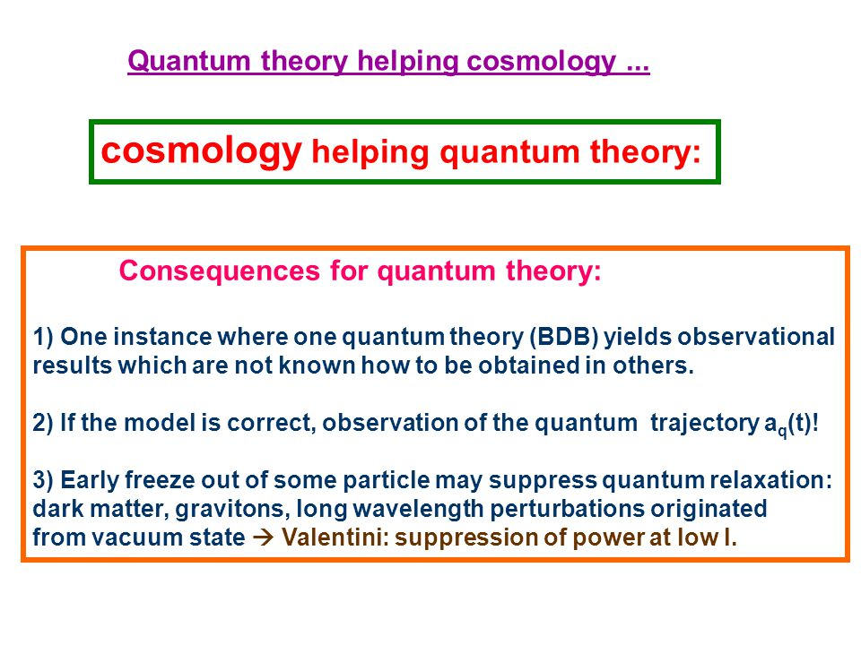 Quantum theory helping cosmology...