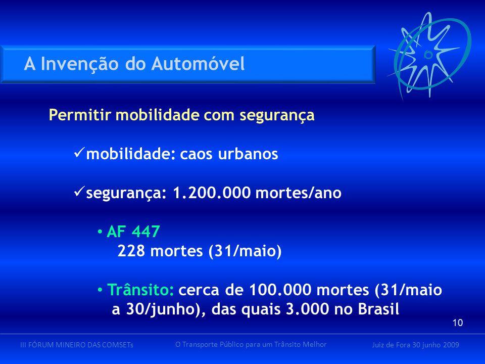 Juiz de Fora 30 junho 2009III FÓRUM MINEIRO DAS COMSETs O Transporte Público para um Trânsito Melhor Permitir mobilidade com segurança mobilidade: cao