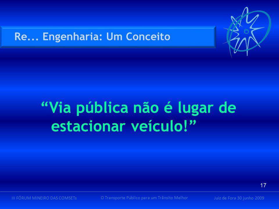 Juiz de Fora 30 junho 2009III FÓRUM MINEIRO DAS COMSETs O Transporte Público para um Trânsito Melhor Via pública não é lugar de estacionar veículo! Re...