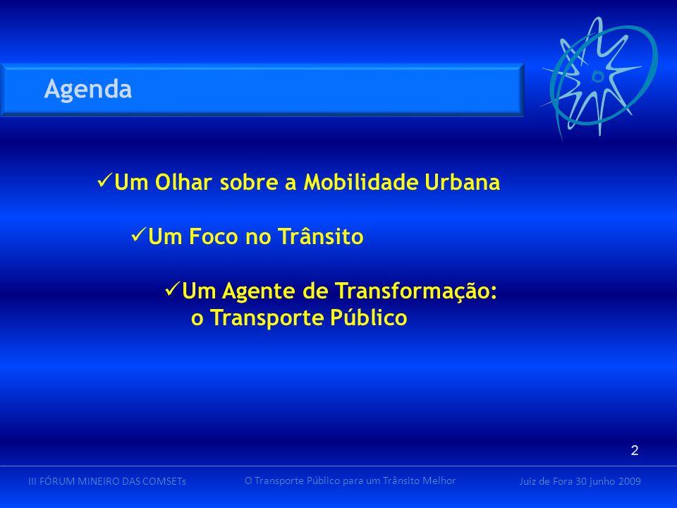 Juiz de Fora 30 junho 2009III FÓRUM MINEIRO DAS COMSETs O Transporte Público para um Trânsito Melhor Um Olhar sobre a Mobilidade Urbana Um Foco no Trânsito Um Agente de Transformação: o Transporte Público 2 Agenda