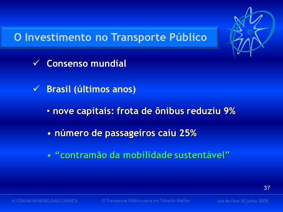 Juiz de Fora 30 junho 2009III FÓRUM MINEIRO DAS COMSETs O Transporte Público para um Trânsito Melhor Consenso mundial Brasil (últimos anos) nove capitais: frota de ônibus reduziu 9% nove capitais: frota de ônibus reduziu 9% número de passageiros caiu 25% número de passageiros caiu 25% contramão da mobilidade sustentável contramão da mobilidade sustentável O Investimento no Transporte Público 37