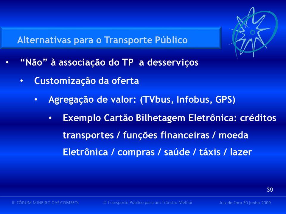 """Juiz de Fora 30 junho 2009III FÓRUM MINEIRO DAS COMSETs O Transporte Público para um Trânsito Melhor """"Não"""" à associação do TP a desserviços Customizaç"""