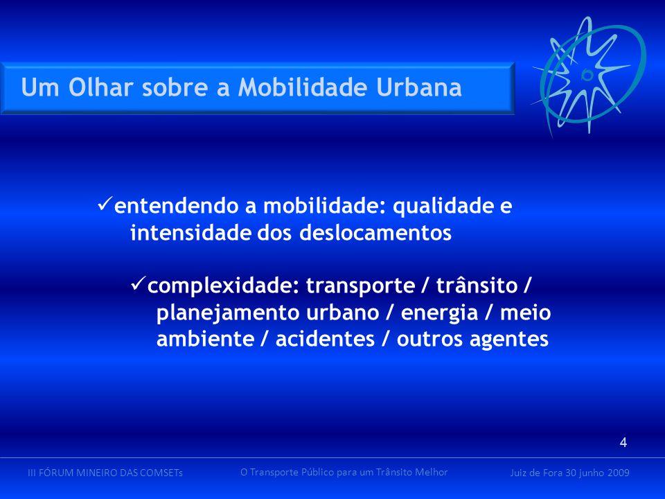 Juiz de Fora 30 junho 2009III FÓRUM MINEIRO DAS COMSETs O Transporte Público para um Trânsito Melhor entendendo a mobilidade: qualidade e intensidade dos deslocamentos complexidade: transporte / trânsito / planejamento urbano / energia / meio ambiente / acidentes / outros agentes Um Olhar sobre a Mobilidade Urbana 4