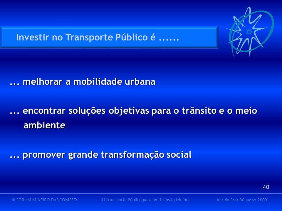 Juiz de Fora 30 junho 2009III FÓRUM MINEIRO DAS COMSETs O Transporte Público para um Trânsito Melhor... melhorar a mobilidade urbana... encontrar solu