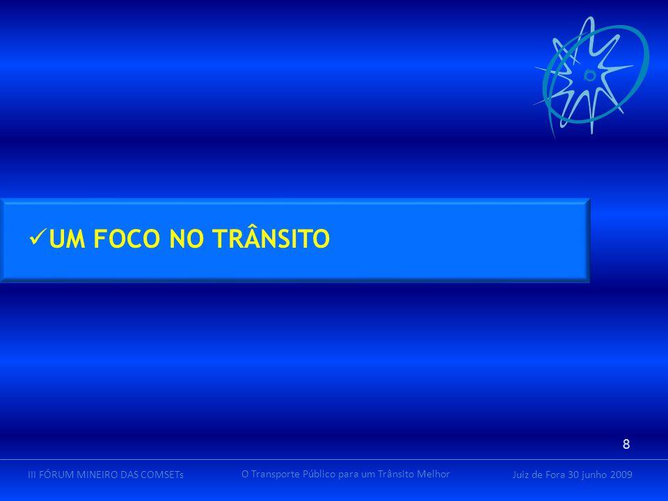 Juiz de Fora 30 junho 2009III FÓRUM MINEIRO DAS COMSETs O Transporte Público para um Trânsito Melhor UM FOCO NO TRÂNSITO 8