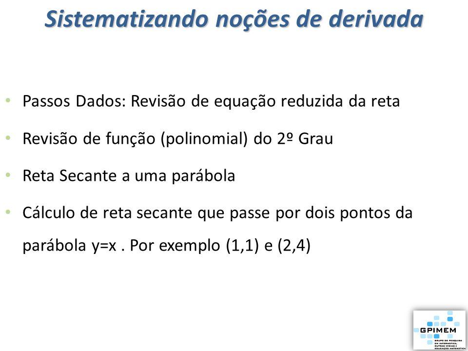Passos Dados: Revisão de equação reduzida da reta Revisão de função (polinomial) do 2º Grau Reta Secante a uma parábola Cálculo de reta secante que pa