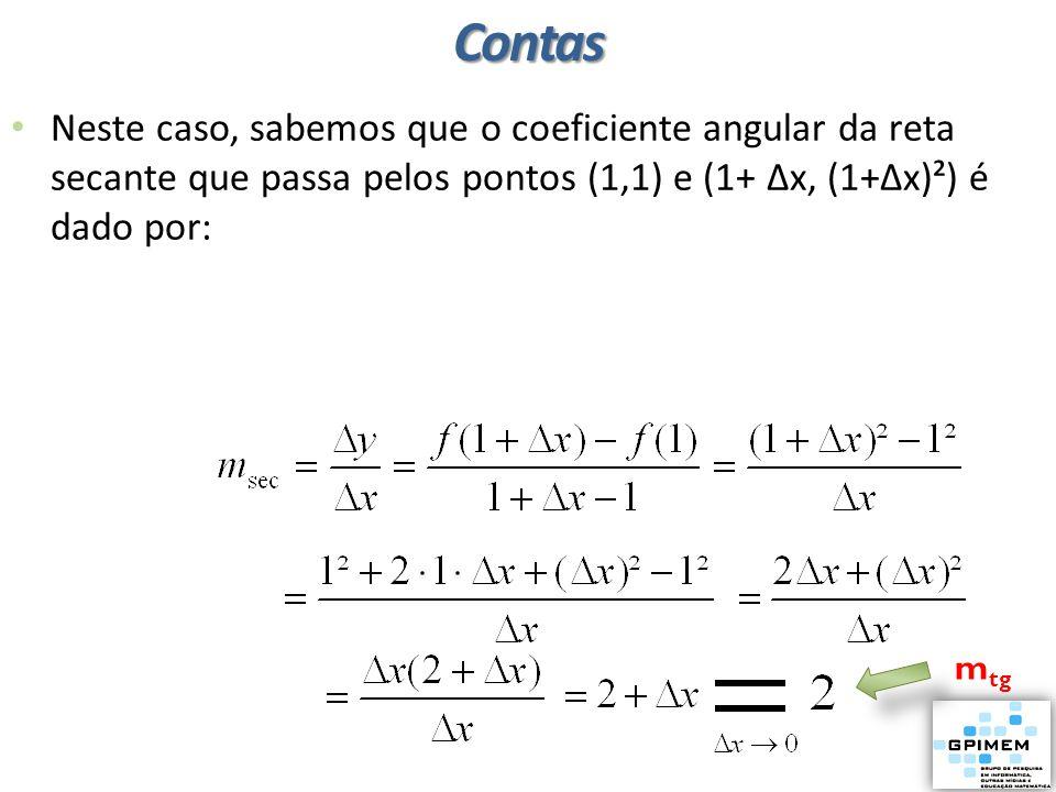 Neste caso, sabemos que o coeficiente angular da reta secante que passa pelos pontos (1,1) e (1+ ∆x, (1+∆x)²) é dado por: m tgContas