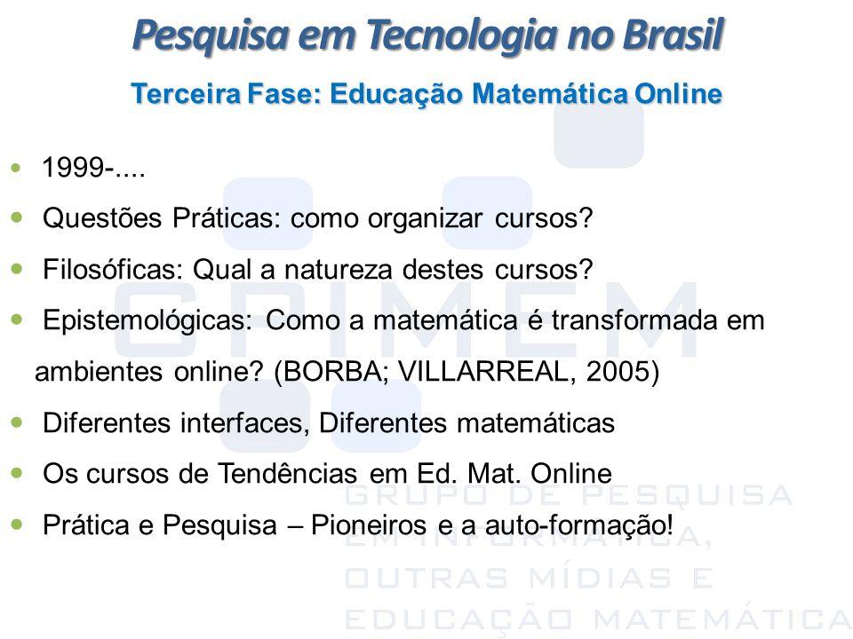 Terceira Fase: Educação Matemática Online 1999-.... Questões Práticas: como organizar cursos? Filosóficas: Qual a natureza destes cursos? Epistemológi