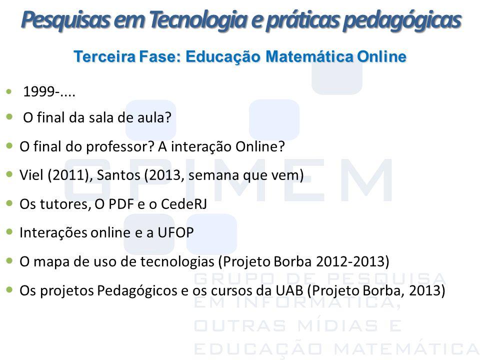Terceira Fase: Educação Matemática Online 1999-.... O final da sala de aula? O final do professor? A interação Online? Viel (2011), Santos (2013, sema